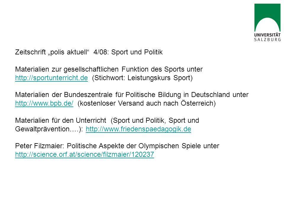 """Zeitschrift """"polis aktuell 4/08: Sport und Politik"""