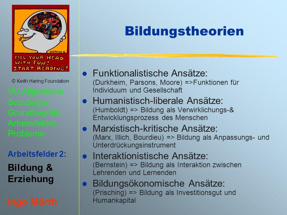 Bildungstheorien Funktionalistische Ansätze: (Durkheim, Parsons, Moore) =>Funktionen für Individuum und Gesellschaft.