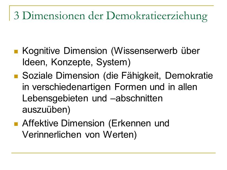 3 Dimensionen der Demokratieerziehung