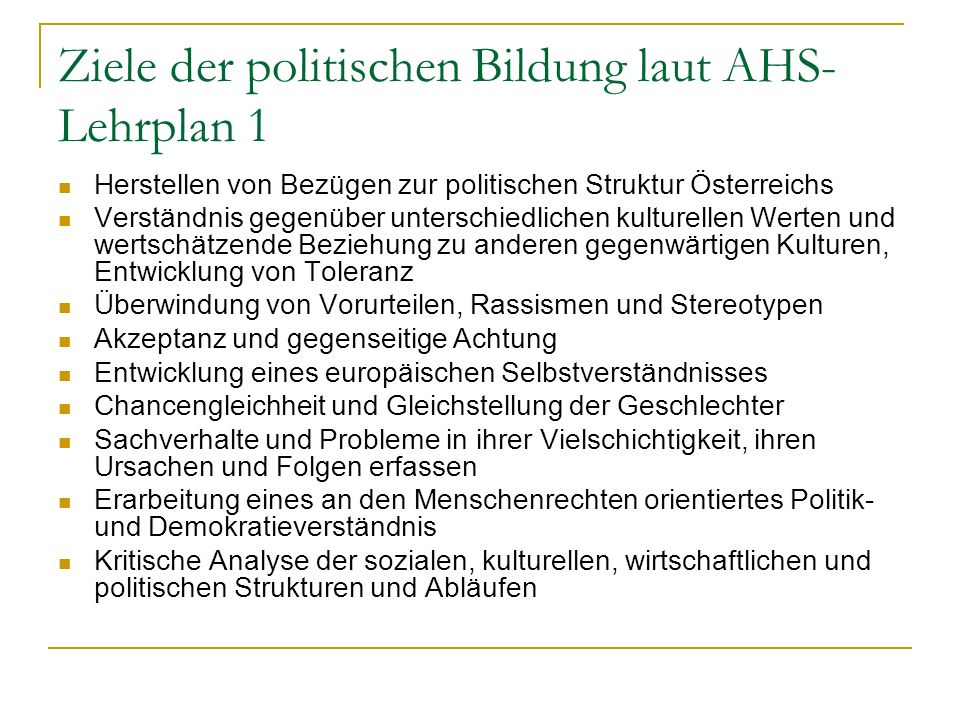 Ziele der politischen Bildung laut AHS-Lehrplan 1