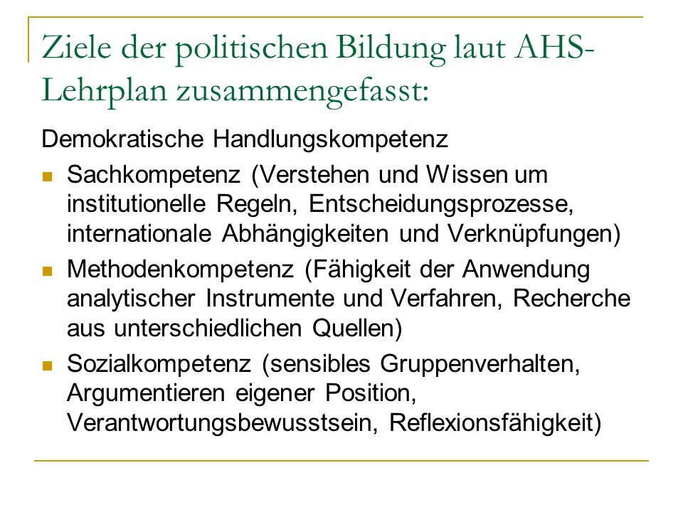 Ziele der politischen Bildung laut AHS-Lehrplan zusammengefasst: