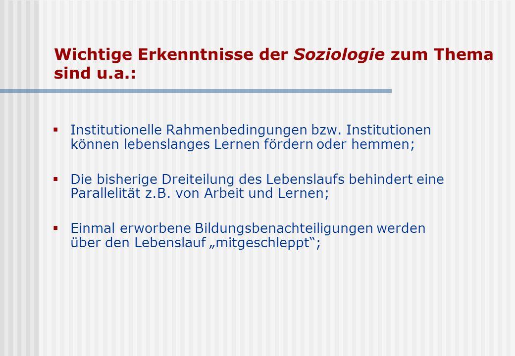 Wichtige Erkenntnisse der Soziologie zum Thema sind u.a.: