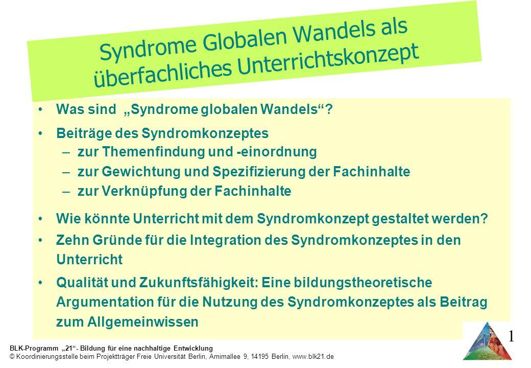 Syndrome Globalen Wandels als überfachliches Unterrichtskonzept
