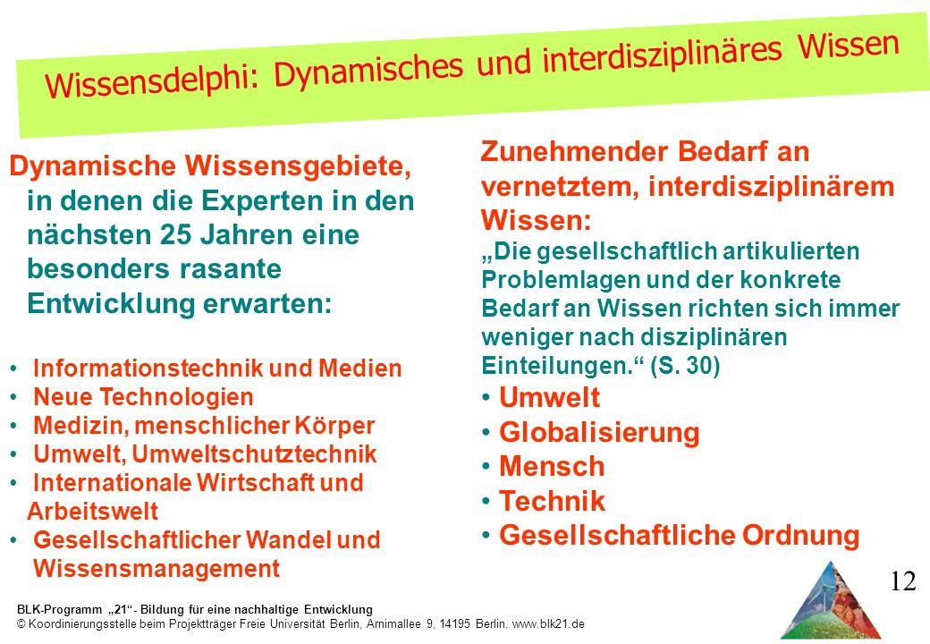 Wissensdelphi: Dynamisches und interdisziplinäres Wissen