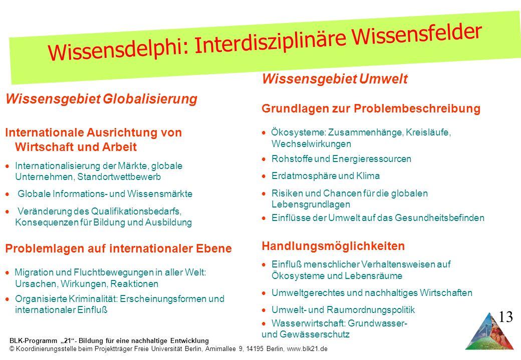 Wissensdelphi: Interdisziplinäre Wissensfelder