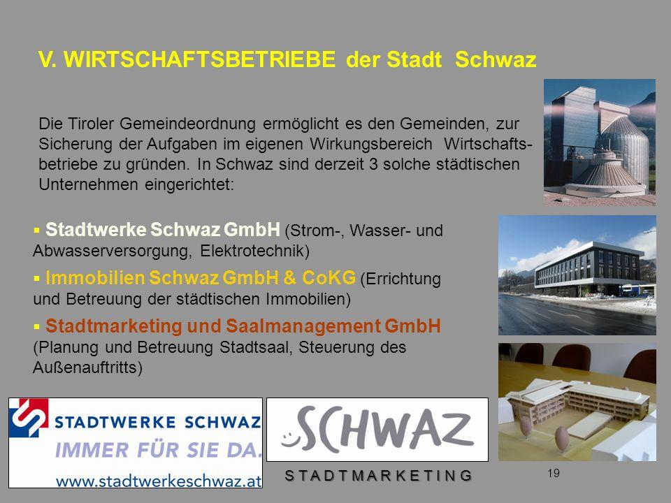 V. WIRTSCHAFTSBETRIEBE der Stadt Schwaz