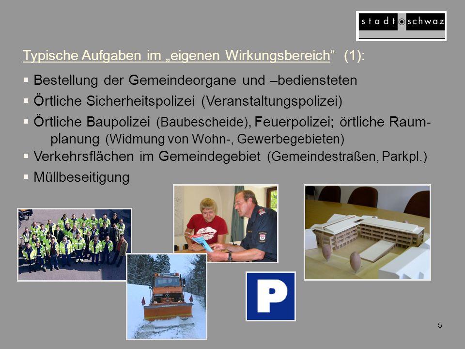 """Typische Aufgaben im """"eigenen Wirkungsbereich (1):"""