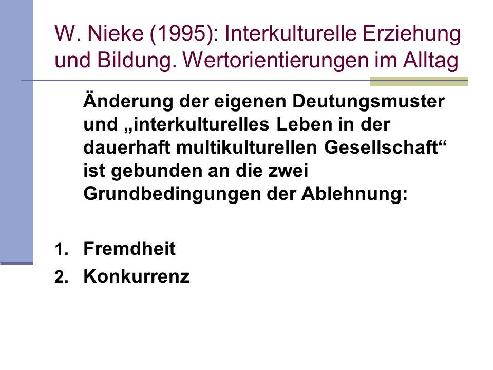 W. Nieke (1995): Interkulturelle Erziehung und Bildung