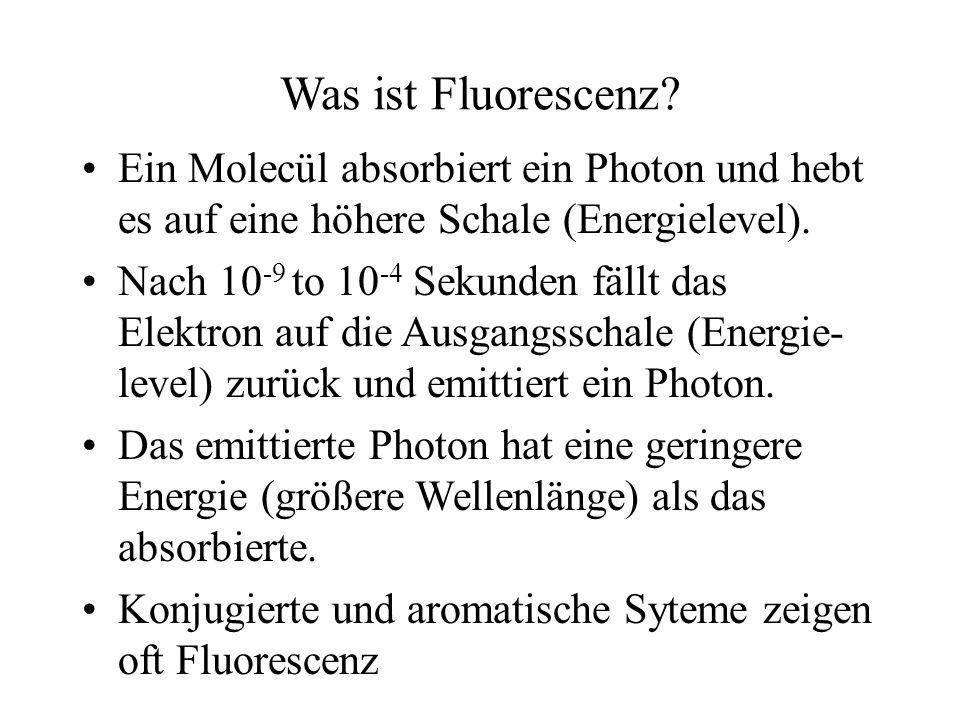 Was ist Fluorescenz Ein Molecül absorbiert ein Photon und hebt es auf eine höhere Schale (Energielevel).