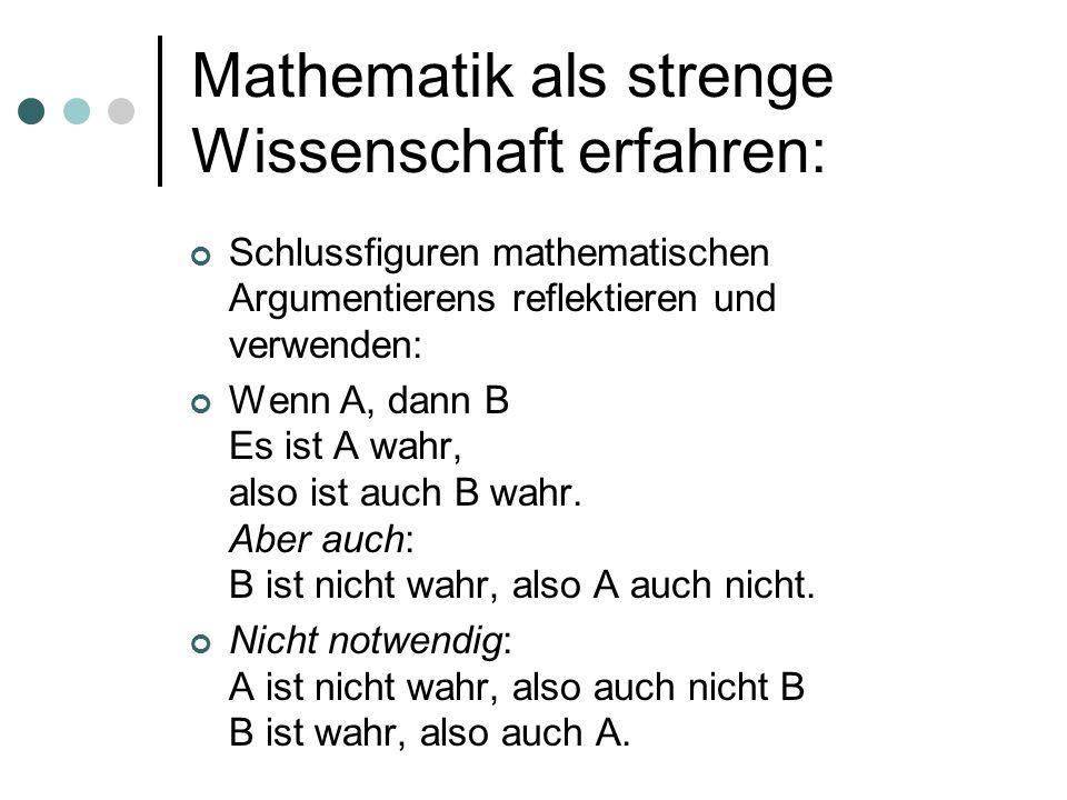 Mathematik als strenge Wissenschaft erfahren: