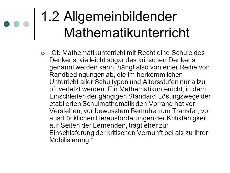 1.2 Allgemeinbildender Mathematikunterricht