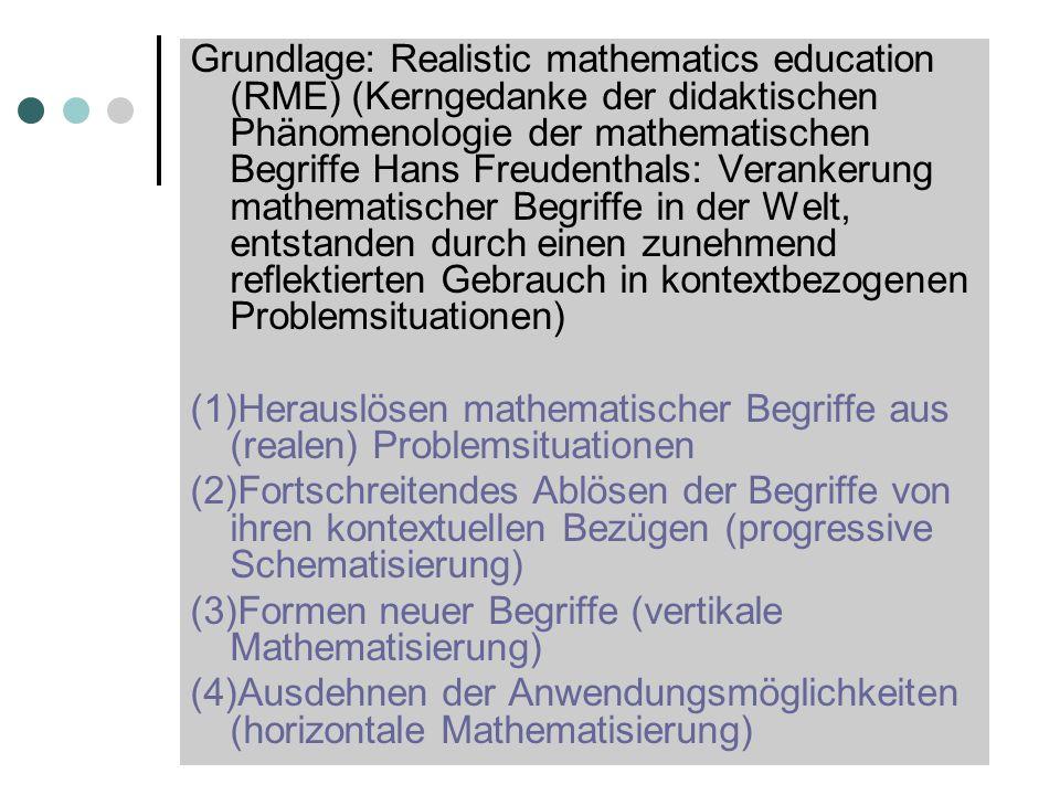 Grundlage: Realistic mathematics education (RME) (Kerngedanke der didaktischen Phänomenologie der mathematischen Begriffe Hans Freudenthals: Verankerung mathematischer Begriffe in der Welt, entstanden durch einen zunehmend reflektierten Gebrauch in kontextbezogenen Problemsituationen)