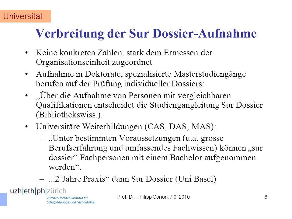 """Lokale Unterschiede Fachhochschulen. Zulassung von Absolventen der Höheren Berufsbildung zu Bachelor-Studien durch """"sur-dossier Regelung möglich."""