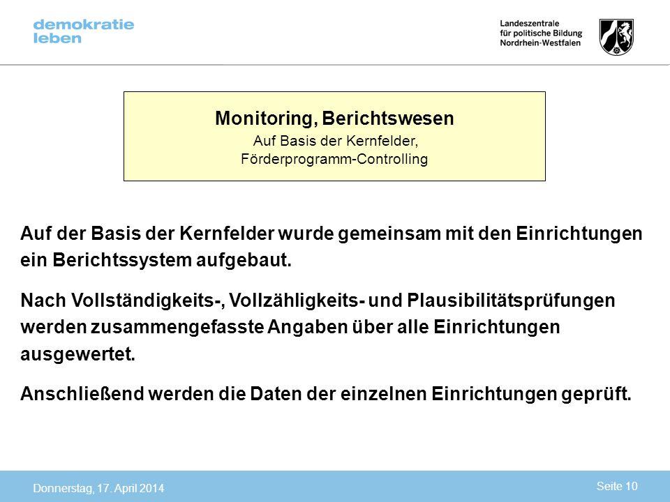 Monitoring, Berichtswesen