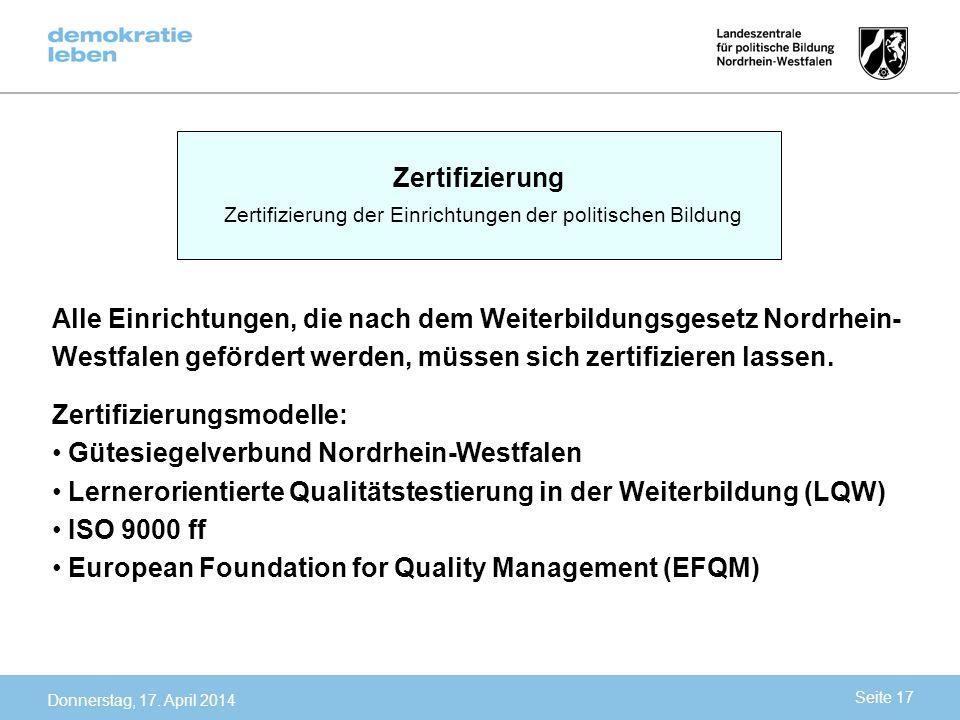 Zertifizierung der Einrichtungen der politischen Bildung
