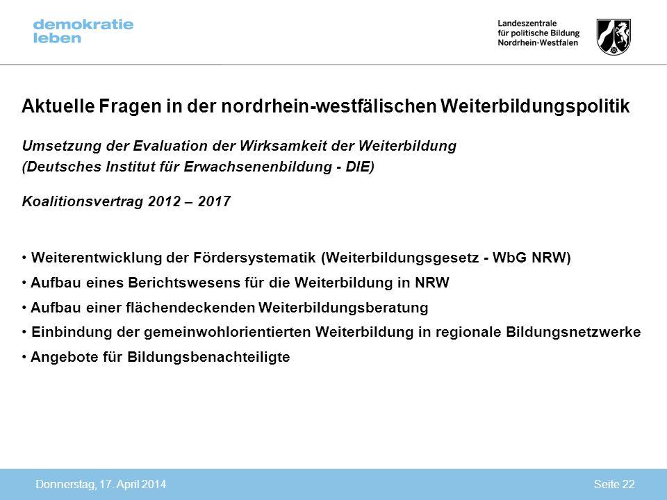 Aktuelle Fragen in der nordrhein-westfälischen Weiterbildungspolitik