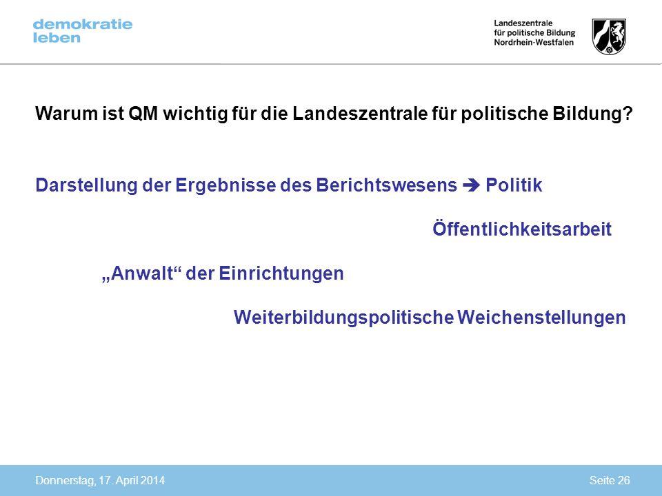 Warum ist QM wichtig für die Landeszentrale für politische Bildung