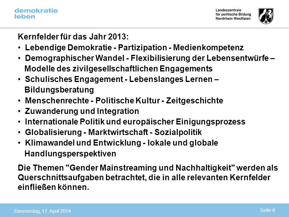 Kernfelder für das Jahr 2013:
