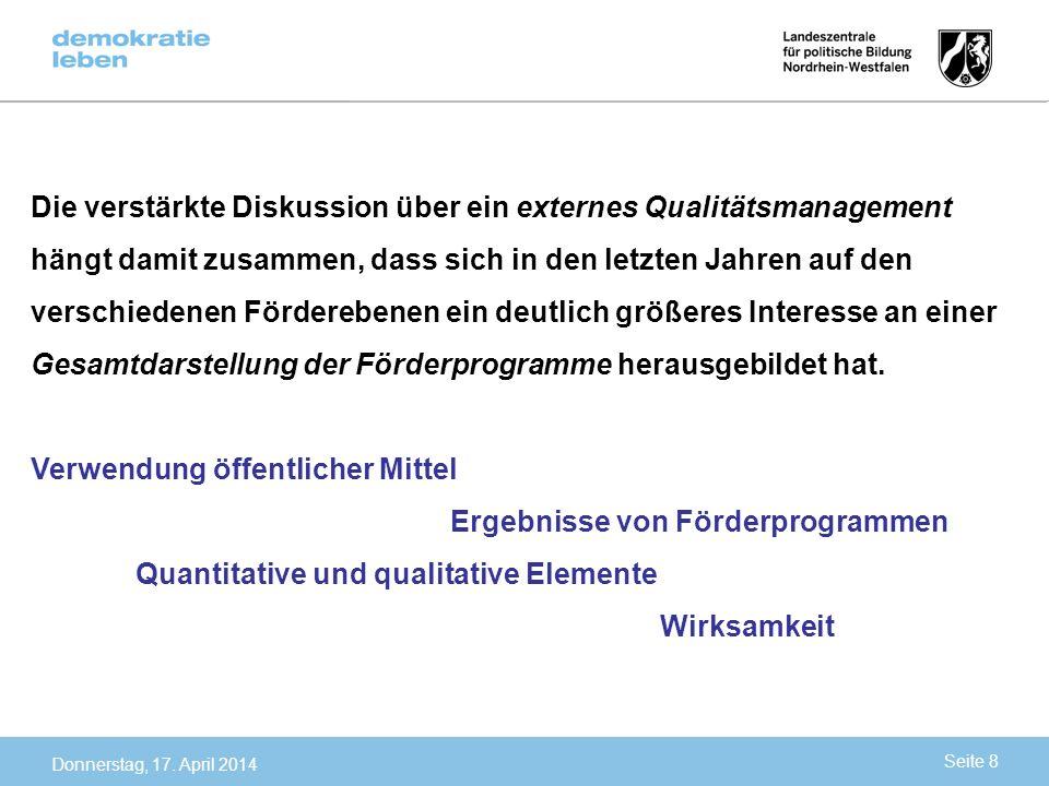 Verwendung öffentlicher Mittel Ergebnisse von Förderprogrammen