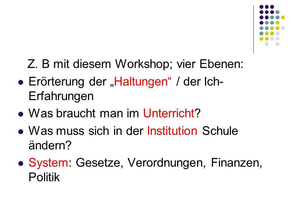 Z. B mit diesem Workshop; vier Ebenen: