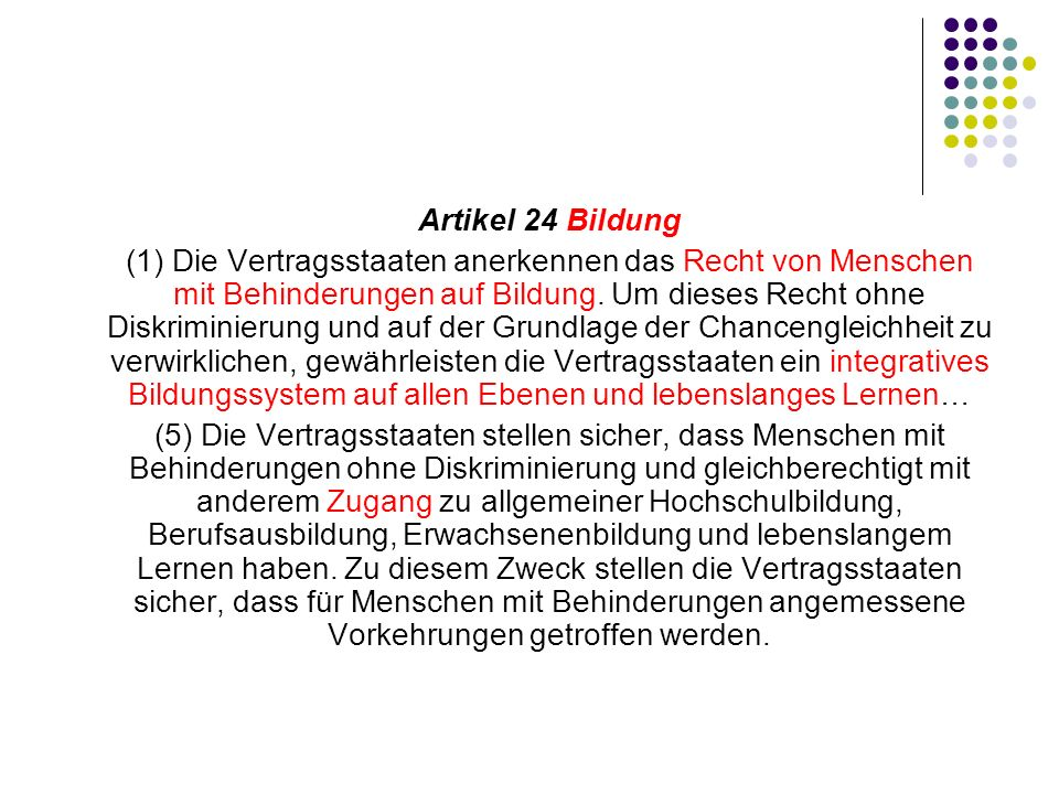 Artikel 24 Bildung