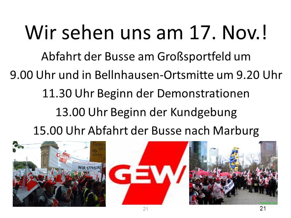 Wir sehen uns am 17. Nov.! Abfahrt der Busse am Großsportfeld um