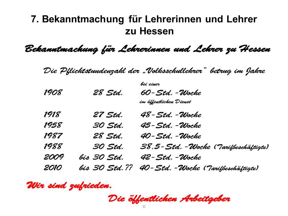 7. Bekanntmachung für Lehrerinnen und Lehrer zu Hessen