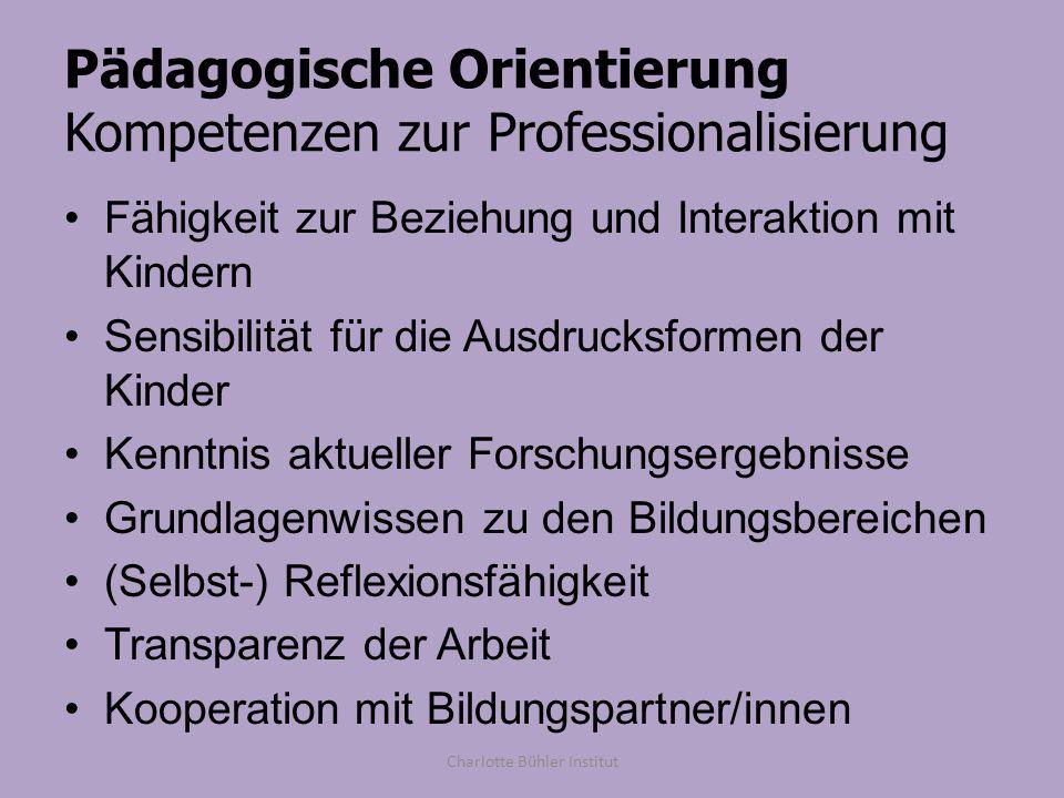 Pädagogische Orientierung Kompetenzen zur Professionalisierung