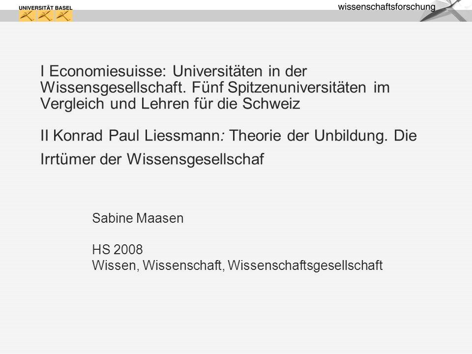 Sabine Maasen HS 2008 Wissen, Wissenschaft, Wissenschaftsgesellschaft