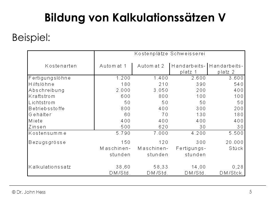 Bildung von Kalkulationssätzen V