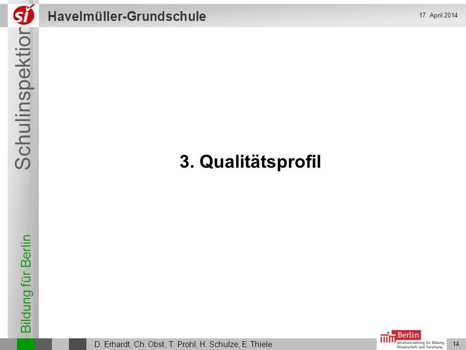 28. März 2017 3. Qualitätsprofil D. Erhardt, Ch. Obst, T. Prohl, H. Schulze, E. Thiele