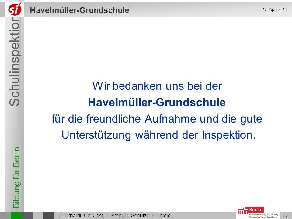 Wir bedanken uns bei der Havelmüller-Grundschule
