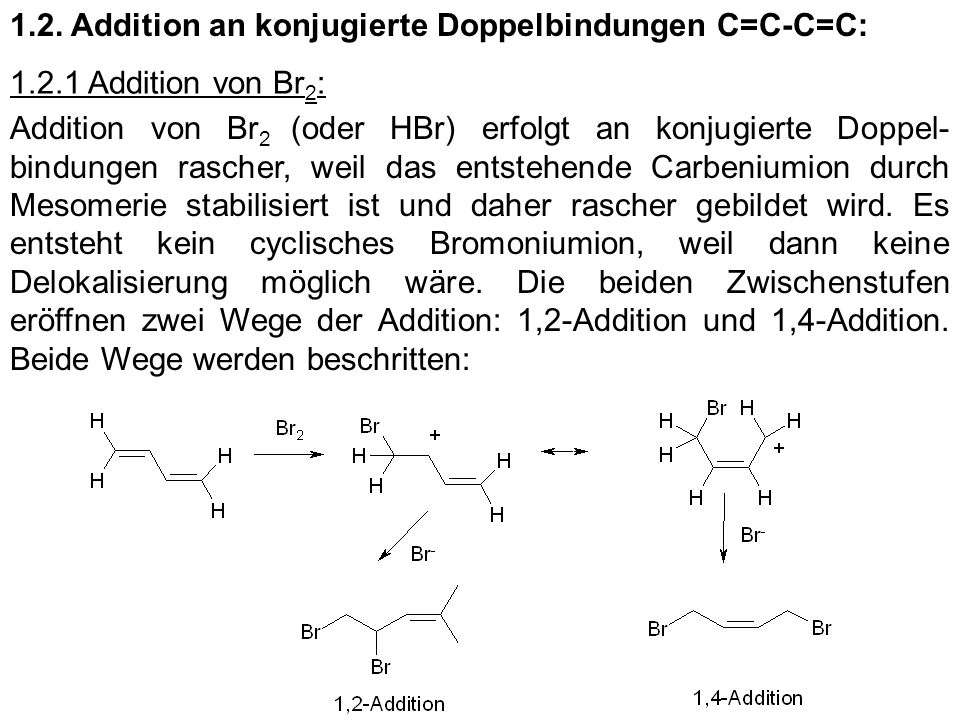 1.2. Addition an konjugierte Doppelbindungen C=C-C=C: