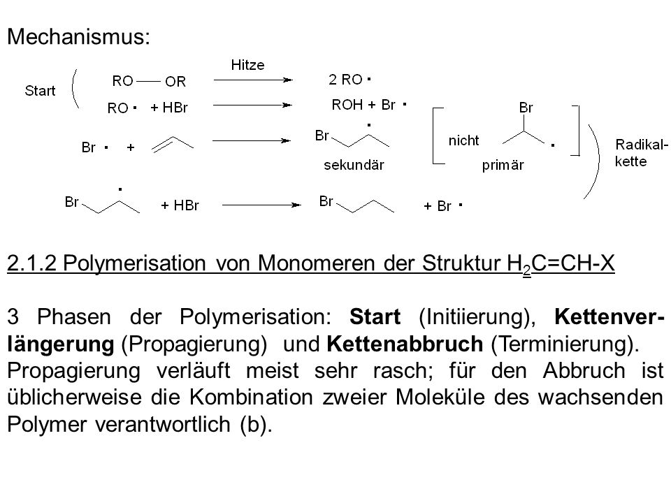Mechanismus: 2.1.2 Polymerisation von Monomeren der Struktur H2C=CH-X.