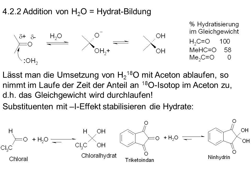 4.2.2 Addition von H2O = Hydrat-Bildung