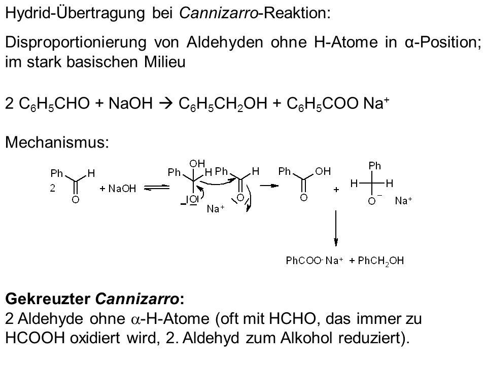 Hydrid-Übertragung bei Cannizarro-Reaktion:
