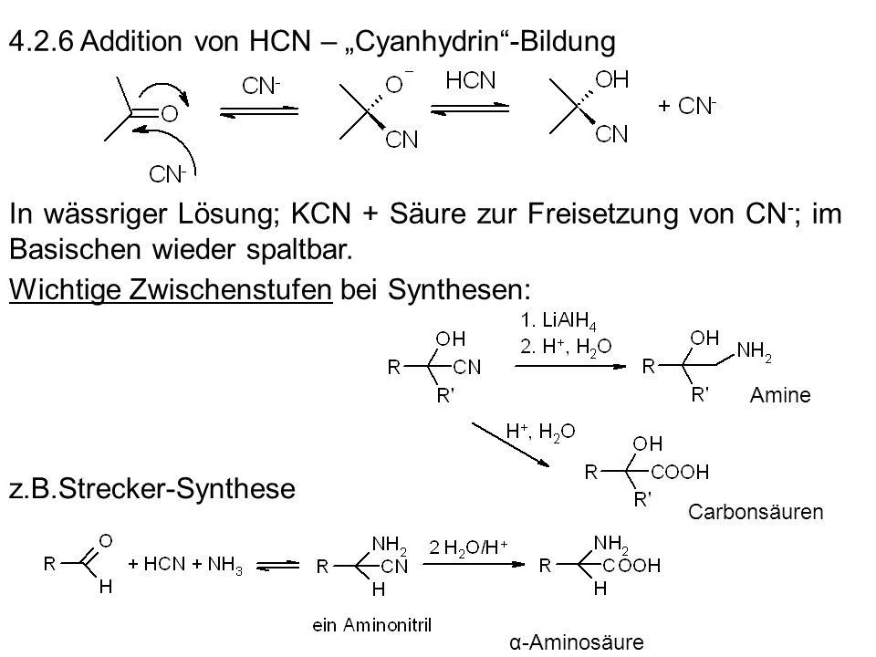 """4.2.6 Addition von HCN – """"Cyanhydrin -Bildung"""
