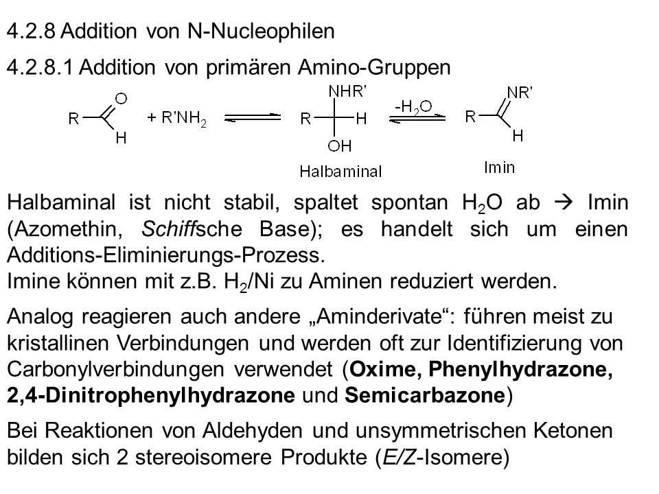 4.2.8 Addition von N-Nucleophilen