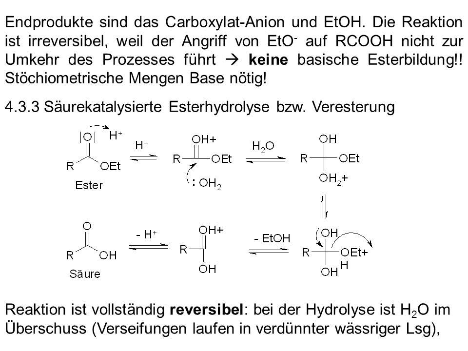 Endprodukte sind das Carboxylat-Anion und EtOH
