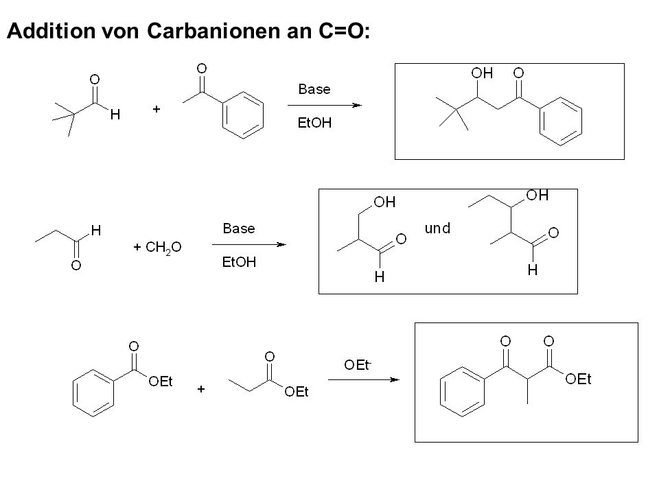 Addition von Carbanionen an C=O: