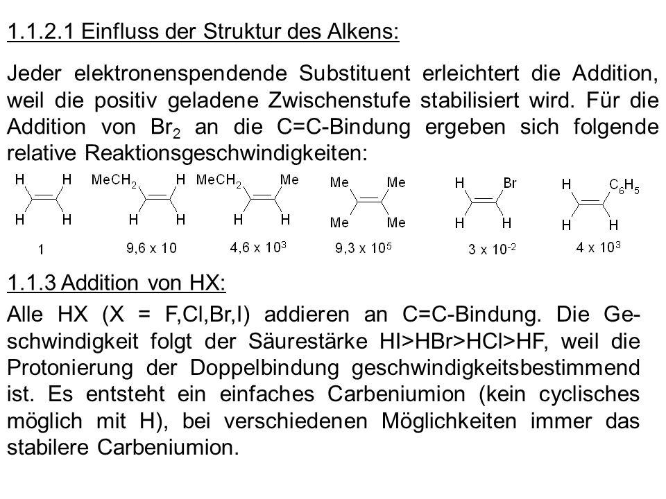 1.1.2.1 Einfluss der Struktur des Alkens: