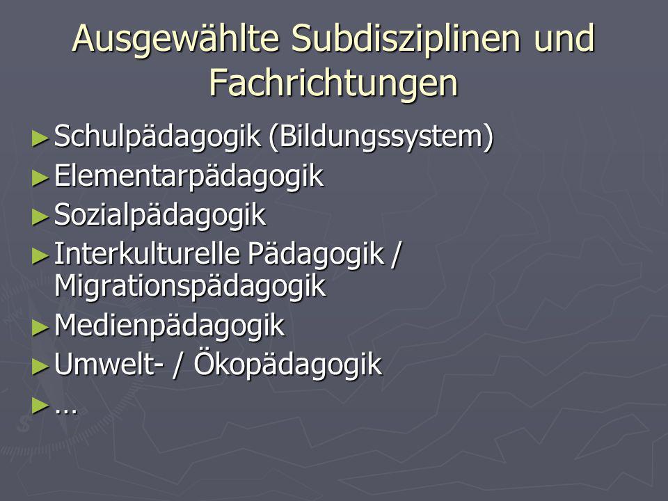 Ausgewählte Subdisziplinen und Fachrichtungen