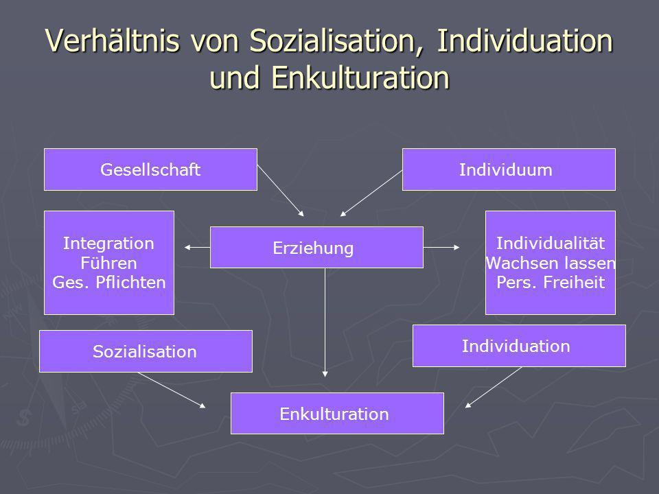 Verhältnis von Sozialisation, Individuation und Enkulturation