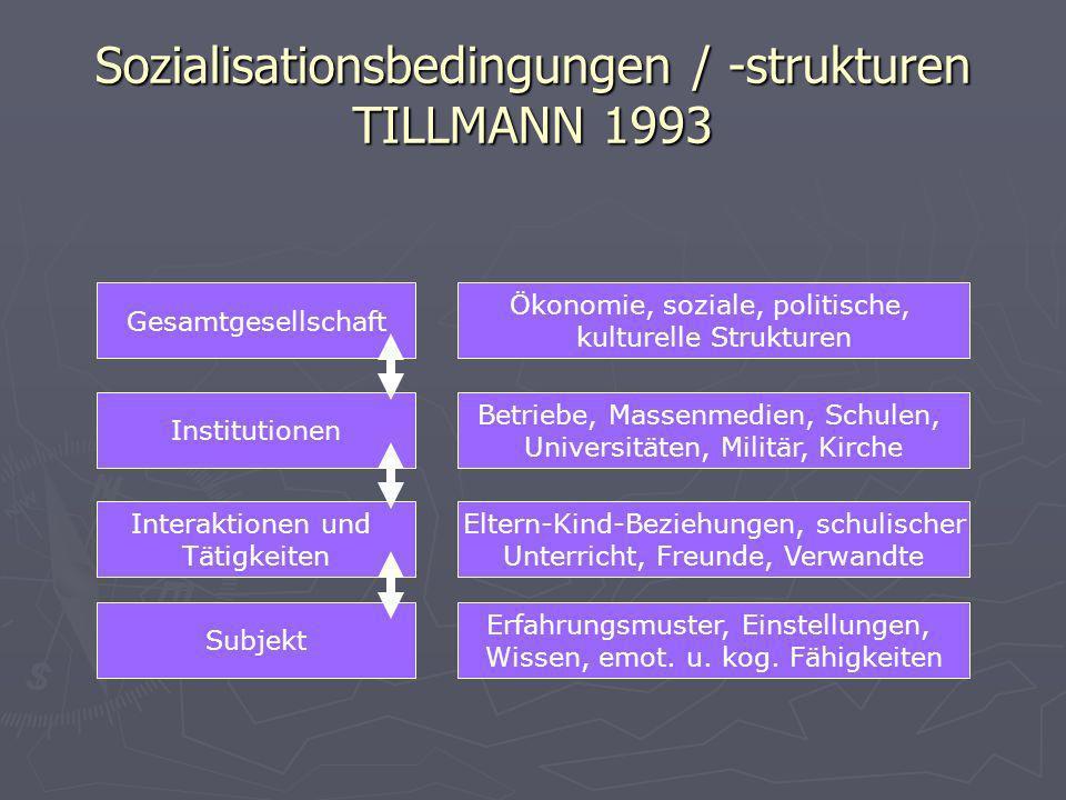 Sozialisationsbedingungen / -strukturen TILLMANN 1993