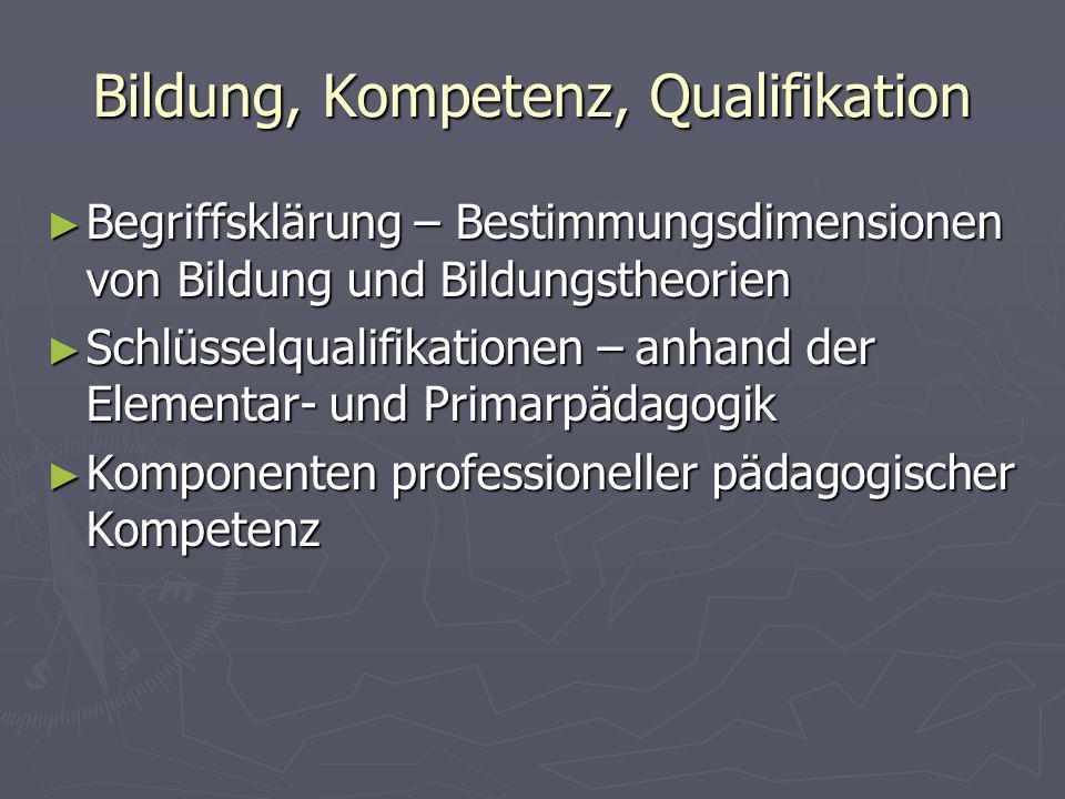 Bildung, Kompetenz, Qualifikation