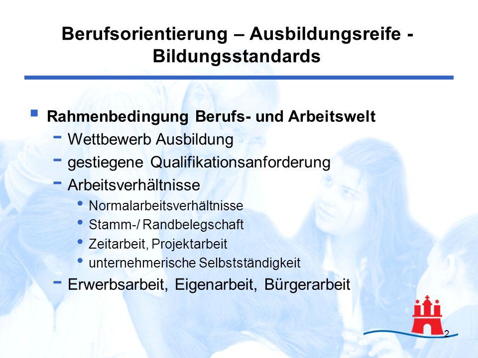 Berufsorientierung – Ausbildungsreife - Bildungsstandards