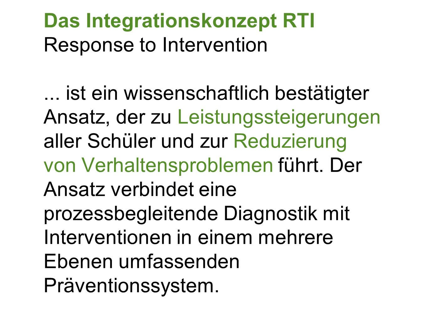 Das Integrationskonzept RTI Response to Intervention