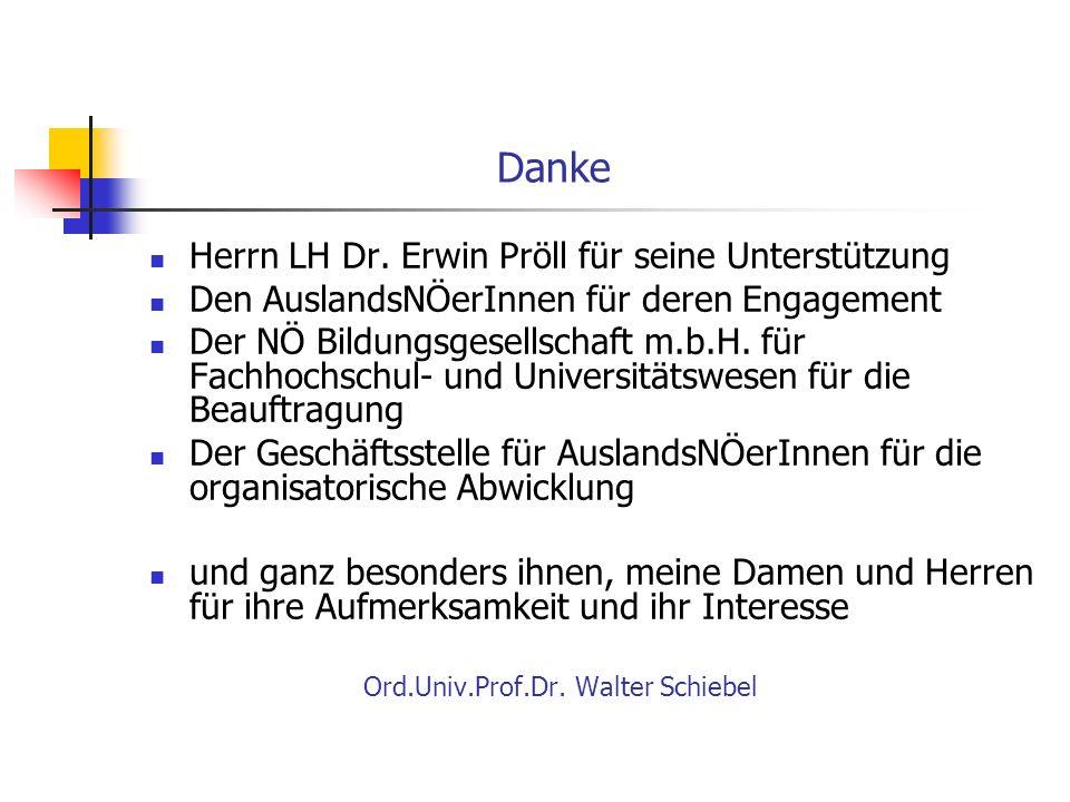 Danke Herrn LH Dr. Erwin Pröll für seine Unterstützung