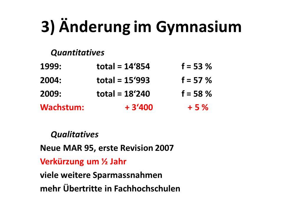 3) Änderung im Gymnasium