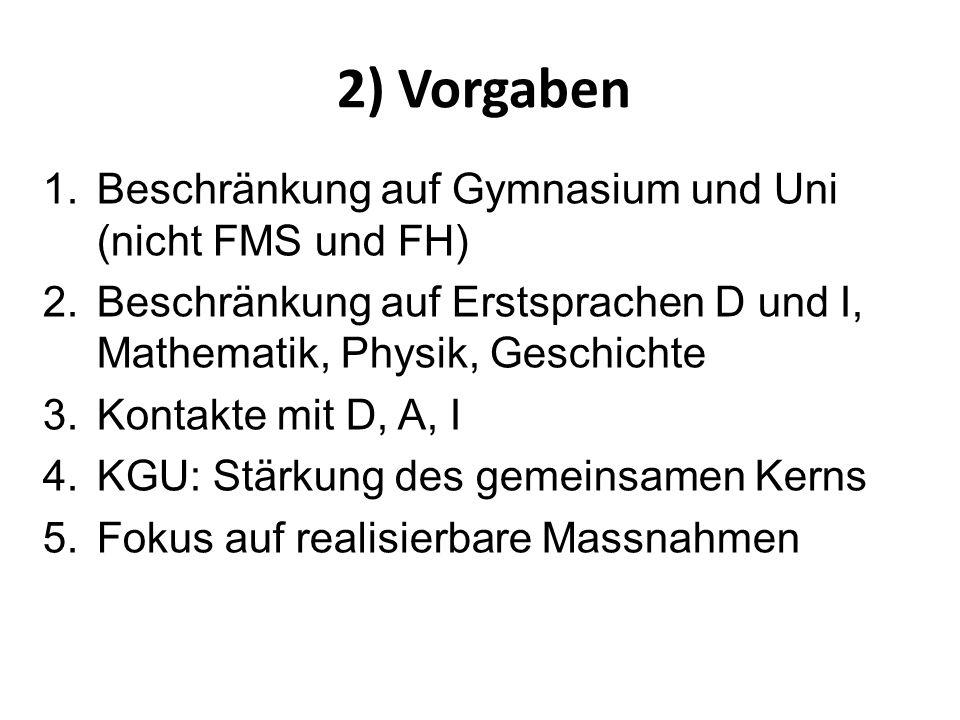 2) Vorgaben Beschränkung auf Gymnasium und Uni (nicht FMS und FH)